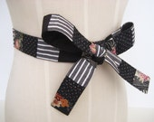 Black Fabric Belt, Patchwork Tie Belt, Repurposed and Recycled Mixed Black Fabric, One of a Kind, Size Small