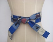 Blue Fabric Belt, Repurposed and Recycled Patchwork Belt, Upcycled Blue Fabric, One of a Kind, Size Medium
