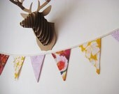 Flag Bunting, Pretty, Girl's, Floral, Eco-Friendly Fabric Decoration made from Recycled and Vintage Fabrics - One of a Kind
