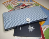 Reserved for Paula - Travel Document Wallet, Passport Wallet, Holiday Travel Pouch with Zip Pocket in Light Blue and White Stripe Denim