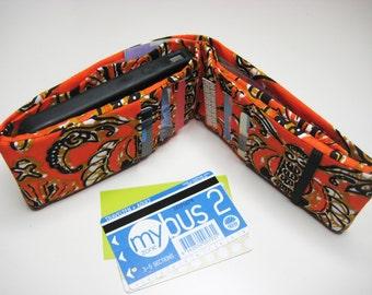Slim Phone Wallet, Smart Phone Wallet, iPhone Wallet, Flat Money Purse, Card Wallet in the Vintage Orange and Black Ornamental Batik Print