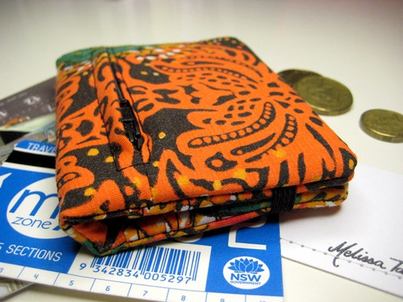 Super Slim Wallet in Vintage Bright Orange and Black Batik Print