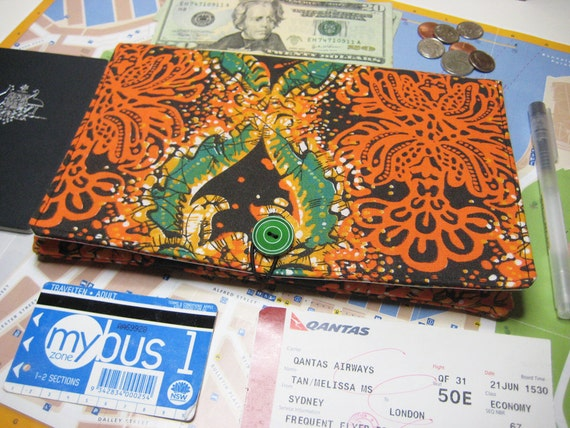 Large Travel Document Wallet, Passport Wallet, Travel Ticket Wallet, Kindle Travel Pouch in the Vintage Orange and Black Batik Print