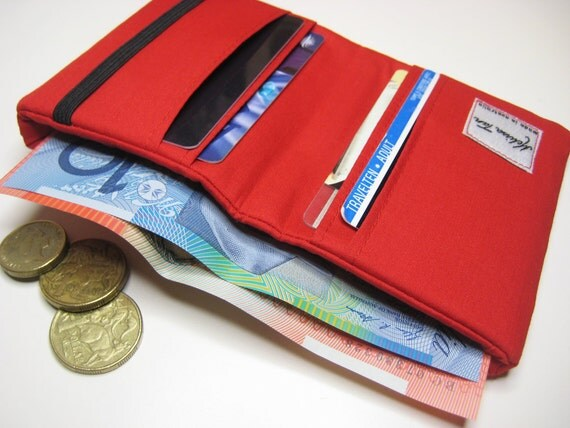 Compact Money Wallet, Small Card Wallet in Bright Red Cotton Poplin