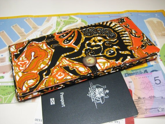 Travel Document Wallet, Passport Wallet, Holiday Travel Pouch with Zip Pocket in the Vintage Orange and Black Horse Batik Print