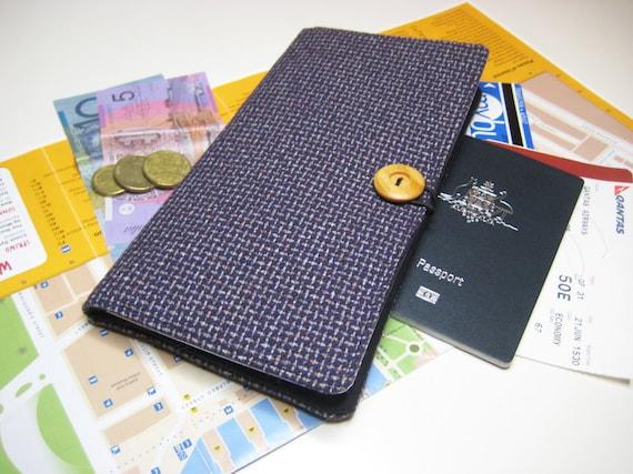 Travel Document Wallet, Passport Wallet, Bon Voyage Gift, Travel Organizer, Passport Holder with Zip Compartment in Purple and Black