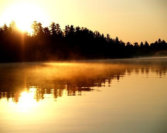 Sunrise Photograph- Morning glow  - Nature photography, New England photography, Maine lake, fall, water, yellow, brown, wall decor