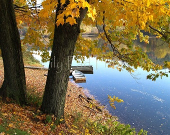 Fall Photograph - Autumn on the River  fine art print upstate new york yellow trees blue water home decor