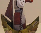 SAIL BOATS AND THEATRICALS. Art doll and papier mache boat