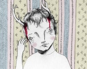 ORIGINAL ILLUSTRATION // Boy with Antlers Limited Edition Illustration Giclee art print