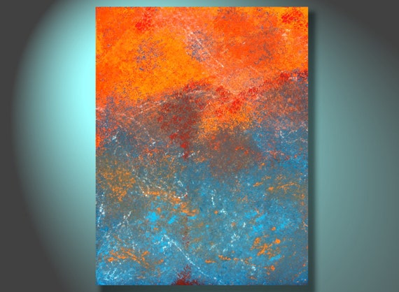 Original Art Painting Tequila Sunrise - By Bryan Dubreuiel - 24 by 18 - Textured Abstract Painting Art Original Etsy