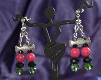 Red Jade Earrings with Green and Black Crystals