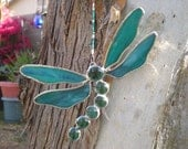 Stained Glass Dragonfly Aqua Blue Green