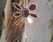 Stained Glass Flower Purple Prism