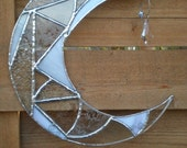 Stained Glass Moon with Prism-Clear-White-Suncatcher