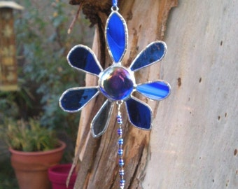 Stained Glass Flower Blue Suncatcher with Prism
