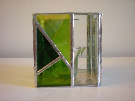 RESERVED LISTING for ANDREAT --Stained Glass Candle Holder with votive-Green/Clear