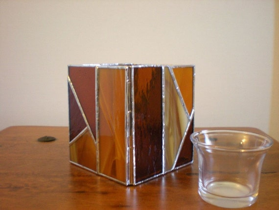 Stained Glass Candle Holder with votive-Amber-Brown-