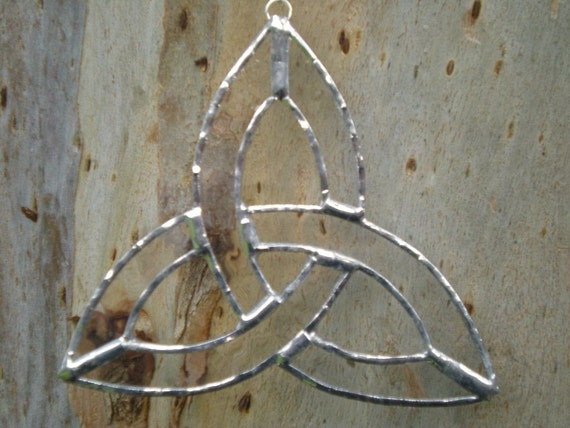 Small Stained Glass Celtic Knot- Clear -Suncatcher