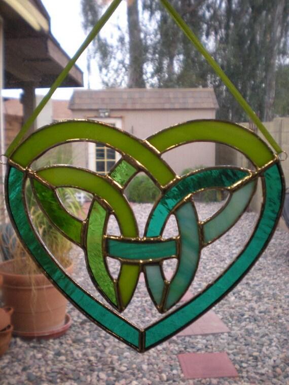 Stained Glass Celtic Heart-Blue-Green-Suncatcher