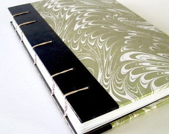 Vintage Book Journal / Sketchbook - Marbled in Pale Olive