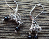 Sterling Byzantine Earrings with Black Agate