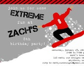 Snowboard Birthday Party Invitation