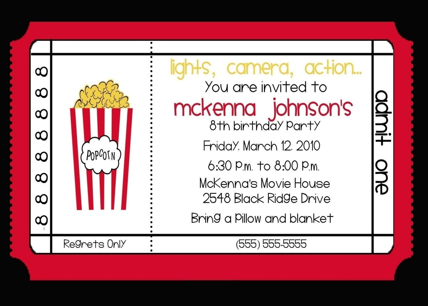 movie theater birthday party invitation by nattysuedesigns1. Black Bedroom Furniture Sets. Home Design Ideas