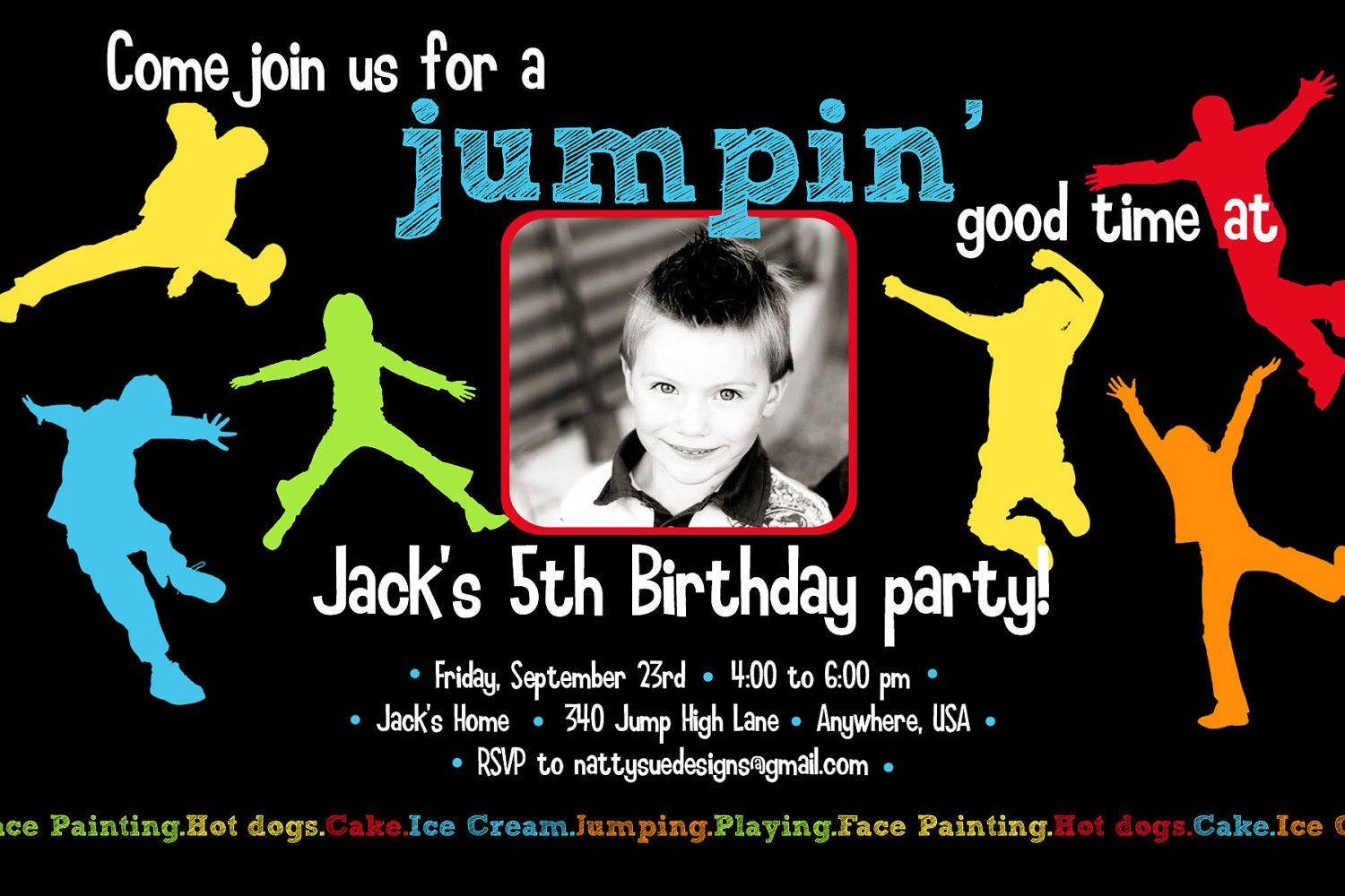 Jump Jump Birthday party Invitation by nattysuedesigns1 on Etsy
