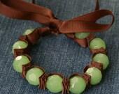 Chocolate Mint Tabbie Ribbon Bracelet