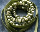 Genevieve Ribbon Necklace  Jewelry in Eucalyptus Green