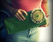 Upcycled Thrifted Oversized Lime Green Faux Snakeskin and Twillypop Blossom Clutch-One of a Kind