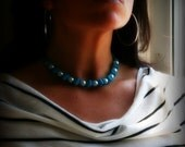 WINTER SALE Choker Necklace - Hadley Peacock Blue Ribbon and Oversized Pearl Choker