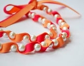 Twillypop Ivy Ribbon and Pearl  Necklace in Summer Melon and Shocking Pink. Pearls. Ribbon Necklace. Fashion Jewelry. Bridesmaid Jewelry.
