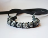 Ribbon Bracelet -Leather (as in Tuscadero) Ribbon Bracelet . Handmade Fashion Jewelry. Statement Bracelet. Stocking Stuffer