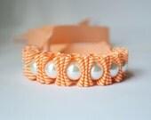 Twillypop Charlie Chevron Statement Bracelet in Tangerine and Pearl  Jewelry. Pearl Bracelet. Ribbon Bracelet. Christmas Gift.