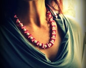 Antique Rose Jet Ribbon and Pearls Necklace