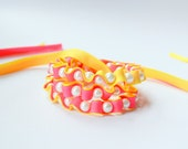 Ribbon Necklace -The Twillypop VIVID Collection -Sarah Ribbon and Pearls Necklace in Tutti Frutti (neon) Pink and Lemonade  Jewelry