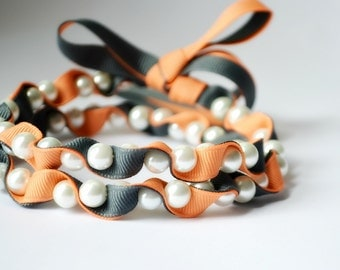 Twillypop Ivy Ribbon and Pearl  Necklace in Peach (summer melon) and Charcoal Gray. Handmade Fashion Jewelry
