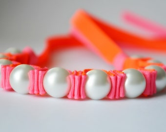 Summer Party. Neon Pink. Neon Orange. Twillypop Billie Ribbon Bracelet. Pearl Bracelet. Fashion Jewelry. Pearls. Teen Girl Gift Under 25