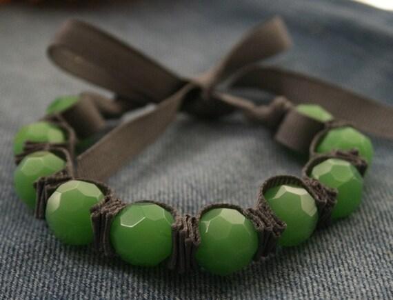 Tabbie Ribbon Bracelet - Grey and Mint