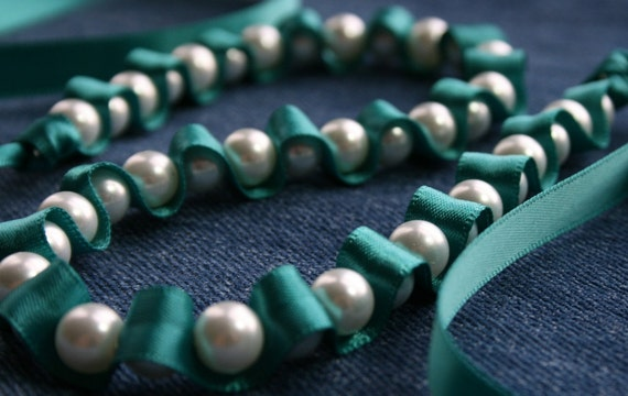 Ribbon Necklace -Peacock Mare Satin and Pearls Ribbon Necklace