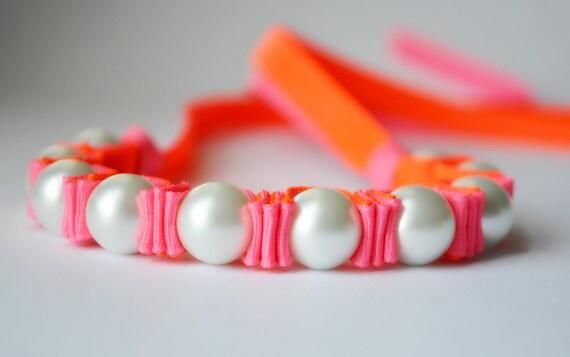 Summer Party. Neon Pink. Neon Orange. Twillypop Billie Ribbon Bracelet. Pearl Bracelet. Fashion Jewelry. Pearls. Teen Girl Gift Under 25