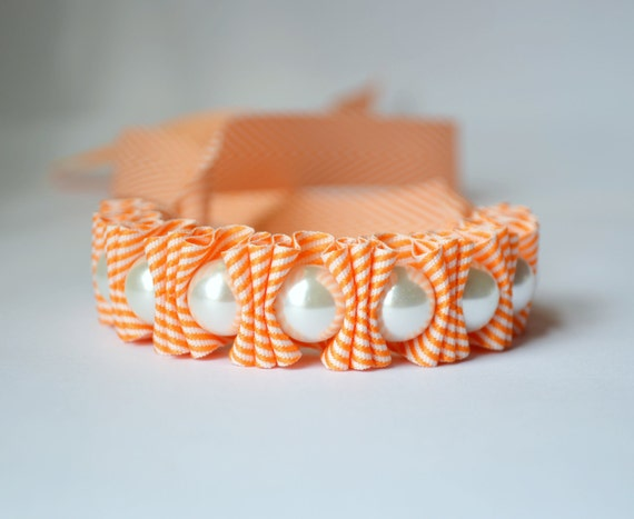 Ribbon Bracelet. Chevron Pearl Statement Bracelet. Tangerine.  Twillypop. Womens Fashion. Teen Girl Gift under 50. Orange. Hostess Gift.