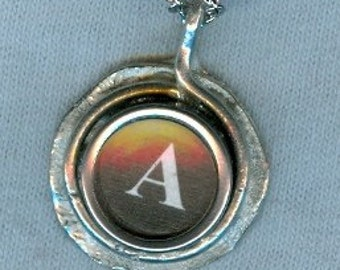Typewriter key pendant. Letter A.  With rhodium like chain.