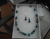 Teal Pearl and Crystal Necklace and Earring Set with Silver accents