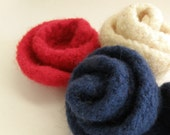 July 4th - The three colors on the American Flag - Red Blue and White - 3 Felted Roses