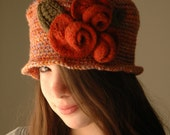 Ginger Cloche Hat with Maple- Ginger Felted Roses