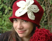 Red Cloche Hat with White Felted Flower