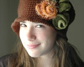 Autumn Hat, Cloche Hat, Brown Crochet Hat with Brick- Orange and olive Felted Roses -Autumn Flapper Hat 1920 Hat
